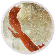 Winter Game Fox Round Beach Towel by Mindy Sommers