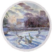 Winter Geese In Church Meadow Round Beach Towel by Timothy Easton