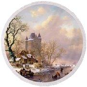 Winter Landscape With Castle Round Beach Towel by Frederick Marianus Kruseman