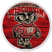 Wisconsin Badgers Barn Door Round Beach Towel by Dan Sproul