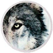 Wolf Art - Timber Round Beach Towel by Sharon Cummings