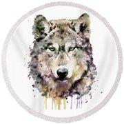 Wolf Head Round Beach Towel by Marian Voicu