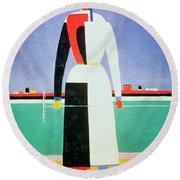 Woman With A Rake Round Beach Towel by Kazimir Severinovich Malevich