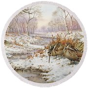 Woodcock Round Beach Towel by Carl Donner