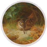 Woodcock Round Beach Towel by Celestial Images