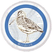 Woodcock Round Beach Towel by Greg Joens
