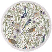 Woodland Edge Birds Round Beach Towel by Jacqueline Colley