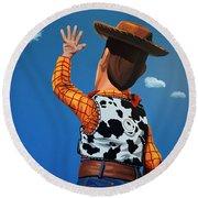Woody Of Toy Story Round Beach Towel by Paul Meijering