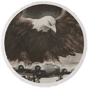 World War II Advertisement Round Beach Towel by American School