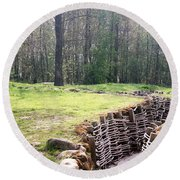Round Beach Towel featuring the photograph World War One Trenches by Travel Pics