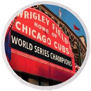 Wrigley Field World Series Marquee Angle Round Beach Towel by Steve Gadomski