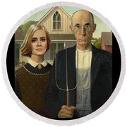 The Farmer And Adele Round Beach Towel by Tim Nyberg