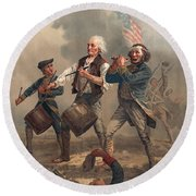 Yankee Doodle Or The Spirit Of 76 Round Beach Towel by Archibald Willard