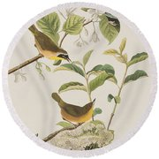 Yellow-breasted Warbler Round Beach Towel by John James Audubon
