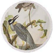 Yellow Crowned Heron Round Beach Towel by John James Audubon