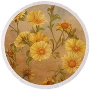 Yellow Daisies Round Beach Towel by Angeles M Pomata