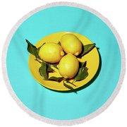 Yellow Lemons On Cyan Round Beach Towel by Oleg Cherneikin