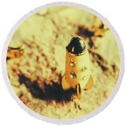 Yellow Rocket On Planetoid Exploration Round Beach Towel by Jorgo Photography - Wall Art Gallery