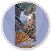 Yellowstone Canyon-osprey Round Beach Towel by Paul Krapf