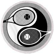 Yin Yang Tennis Round Beach Towel by Carlos Vieira