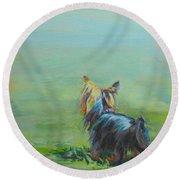 Yorkie In The Grass Round Beach Towel by Kimberly Santini