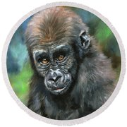 Young Gorilla Round Beach Towel by David Stribbling