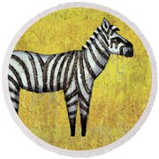 Zebra Round Beach Towel by Kelly Jade King