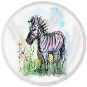 Zebra Painting Watercolor Sketch Round Beach Towel by Olga Shvartsur
