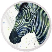 Zebra Watercolor Blue Green  Round Beach Towel by Olga Shvartsur