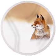 Zen Fox Series - Zen Fox In Winter Mood Round Beach Towel by Roeselien Raimond