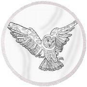 Zentangle Owl In Flight Round Beach Towel by Cindy Elsharouni