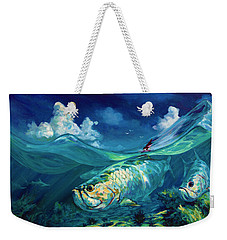 A Place I'd Rather Be - Caribbean Tarpon Fish Fly Fishing Painting Weekender Tote Bag by Savlen Art