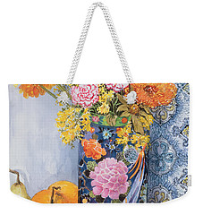 Iris And Pinks In A Japanese Vase With Pears Weekender Tote Bag by Joan Thewsey