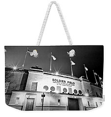 0879 Soldier Field Black And White Weekender Tote Bag by Steve Sturgill