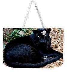 Black Leopard Weekender Tote Bag by Mark Newman