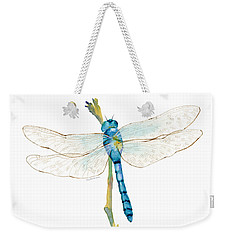 Blue Dragonfly Weekender Tote Bag by Amy Kirkpatrick
