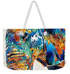 Colorful Elephant Art By Sharon Cummings Weekender Tote Bag by Sharon Cummings