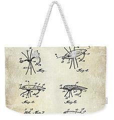 Fishing Lure Patent  Weekender Tote Bag by Jon Neidert