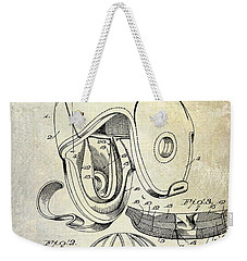 Football Helmet Patent Weekender Tote Bag by Jon Neidert
