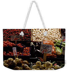 Fruits And Vegetables At A Market Weekender Tote Bag by Panoramic Images