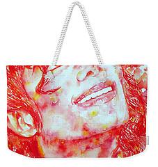 Michael Jackson - Watercolor Portrait.2 Weekender Tote Bag by Fabrizio Cassetta