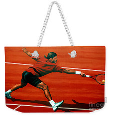 Roger Federer At Roland Garros Weekender Tote Bag by Paul Meijering
