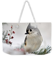 Tufted Titmouse Square Weekender Tote Bag by Christina Rollo