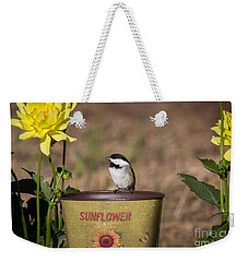 Black-capped Chickadee Poecile Weekender Tote Bag by Linda Freshwaters Arndt