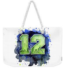 12th Man Seahawks Art Seattle Go Hawks Weekender Tote Bag by Olga Shvartsur
