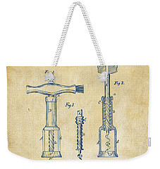 1876 Wine Corkscrews Patent Artwork - Vintage Weekender Tote Bag by Nikki Marie Smith