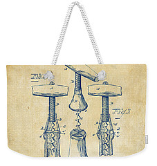 1883 Wine Corckscrew Patent Artwork - Vintage Weekender Tote Bag by Nikki Marie Smith