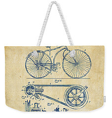 1890 Bicycle Patent Artwork - Vintage Weekender Tote Bag by Nikki Marie Smith