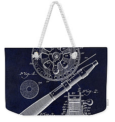 1906 Fishing Reel Patent Drawing Blue Weekender Tote Bag by Jon Neidert