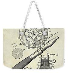 1906 Fishing Reel Patent Drawing Weekender Tote Bag by Jon Neidert
